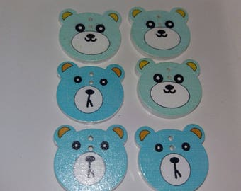 set of 6 buttons bear wooden embellishments