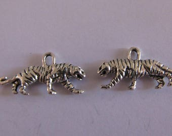 1 silver tiger charm 12mmx22mm