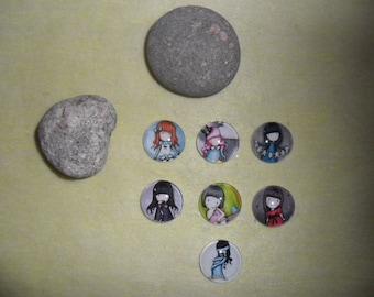 set of 7 glass cabochons girls, 20 mm round