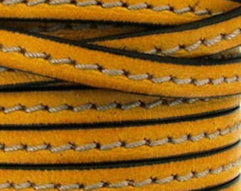 20 cm Leather Strip 5 mm yellow gold stitching