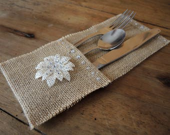 "Set of 6 cutlery ""romantic"" burlap"