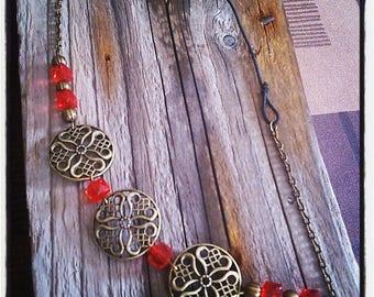 HeadBand jewelry head piece filigree bronze / red beads