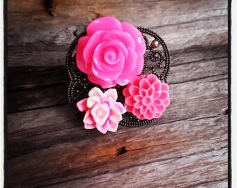 Ring bronze cabochon flower rose