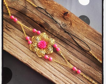 Head Band headband lace vintage gold / pink flower cabochon and beads