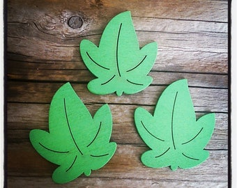 set of 3 sheets wooden Green 30mm x 35mm