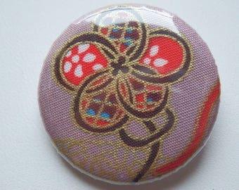 """Badge """"Les Fleurs"""" fabric rose 3 cm"""
