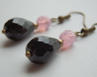 "Earrings ""Drops"" drop faceted black and bronze"
