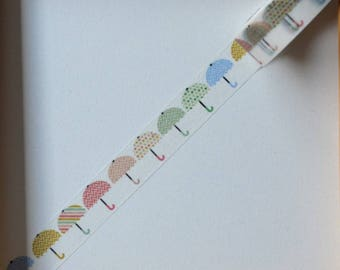"Masking tape - pattern ""Umbrellas"" - 1.5 cm x 10 m"
