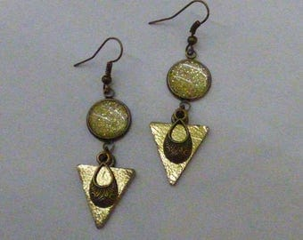 EARRINGS GOLDEN LEATHER AND GLITTER