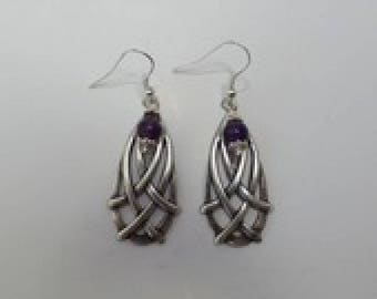 Earrings Celtic interlaced prints with Amethyst stones