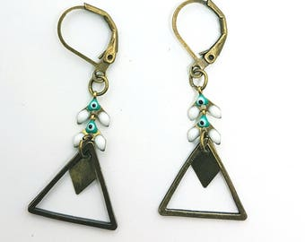 bronze blue triangle earrings