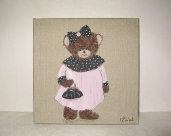 Free shipping! Jeanne bear painting