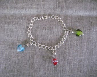 free shipping!  hearts charms bracelet