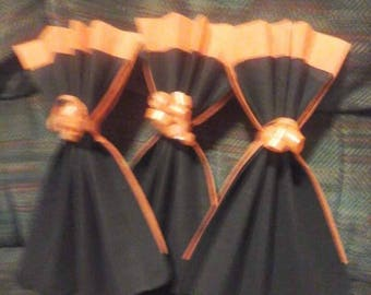 HALLOWEEN folding napkin dress black and orange set of 10 folding