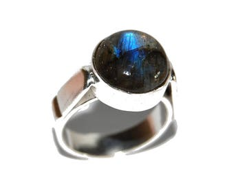 Round labradorite and 925 sterling silver ring - size 55
