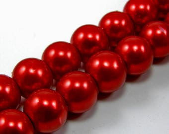 Set of 5 10 mm red Pearl glass beads