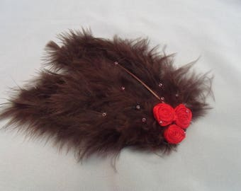 "Barrette with pink feathers ""Autumn"""