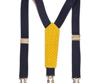 Yellow kids fabric straps with white polka dots and dark blue elastic