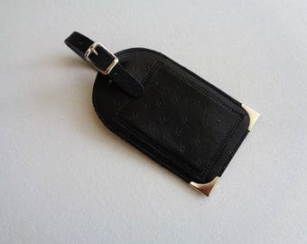 In skivertex faux ostrich leather luggage tag