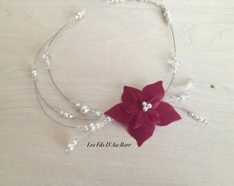 Wedding ivory & Burgundy VAHINE necklace