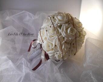 Ivory & chocolate ANGELINE wedding bouquet