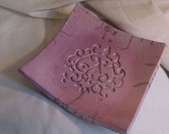 empty square plate purple raku, arabesque in the Center Pocket