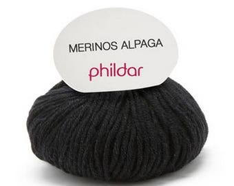 phildar black Alpaca merino wool yarn