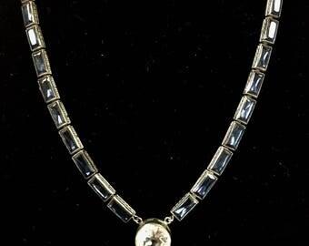 pre-1940s Silver-tone & Crystal Necklace