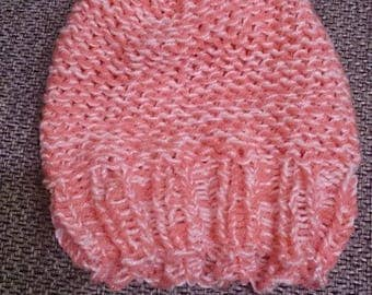 Adult Pink and white wool hat