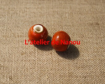 ceramic bead handmade orange 8 mm
