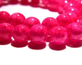 "50 glass beads ""reality"" - 8 mm - bright fuchsia - PG103 way"