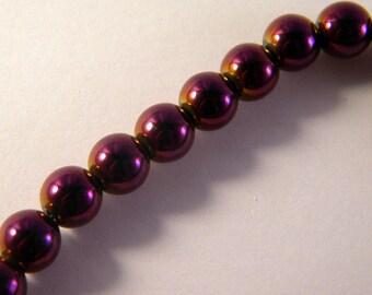 5 beads, round hematite 8 mm purple - shamballa bracelet
