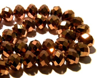10 pearls glass electroplate faceted - 10 x 8 mm - abacus - abacus - Pearl rondelle faceted copper - F111-5