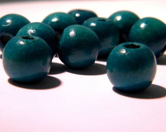 100 natural wooden beads in 12 mm - wood painted and varnished - Emerald - BO-3