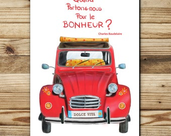 """greeting card double paper FSC illustration """"2CV"""" made in France"""
