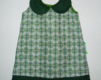 """18/24 months with Peter Pan collar dress """"Green flower"""""""