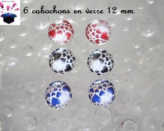 6 glass cabochons 12 mm for loop heart theme