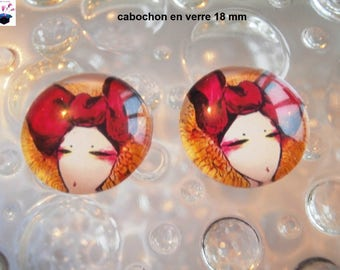 2 theme woman's head 18mm domed glass cabochon
