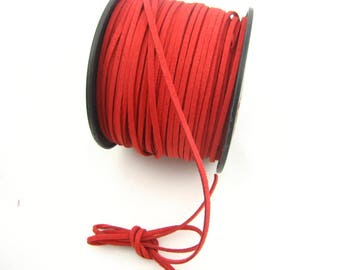 2 metres of Red suede. Width 3mm thickness 1.5 mm