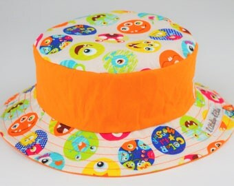 Child's hat reversible cotton - monsters 49 cm