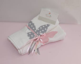 White, powder pink and gray Pearl 60 x 60 diapers duo butterflies