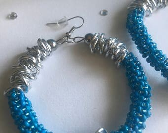 Two Toned Spiral Hoops with Chain