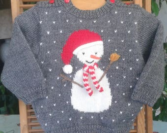 BABY knit SWEATER hand knit, grey with an adorable snowman