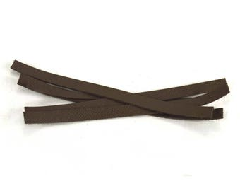 Set of 5 strips Taupe leather bracelet
