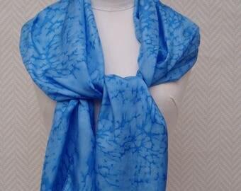 "Scarf, shawl, scarf silk, blue ""Ice flower"" hand painted"