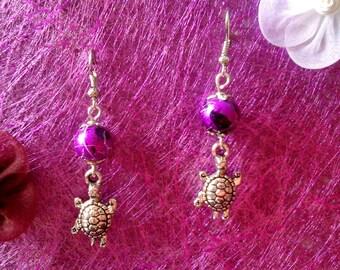 Turtle and bead earrings