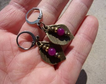 Stainless bronze agate leaf clip earrings