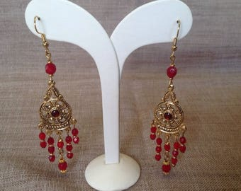 Long earrings Bohemian beads and Golden stalk