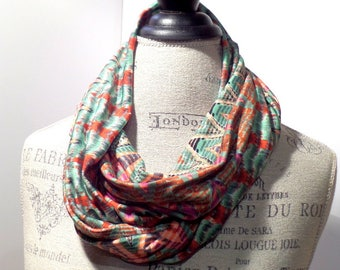 Stretch Infinity Scarf Green and Rust Chevron Print Made with ITY Knit Fabric