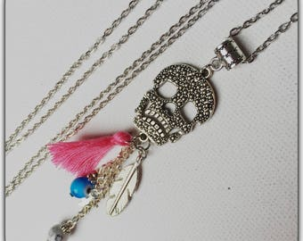 Long tassel and feather, pink and turquoise skull